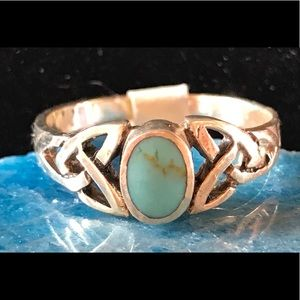 Turquoise Ring With Celtic Symbol